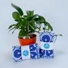 khan mat cao cap Oriole OFP5 soi cotton mau xanh duong